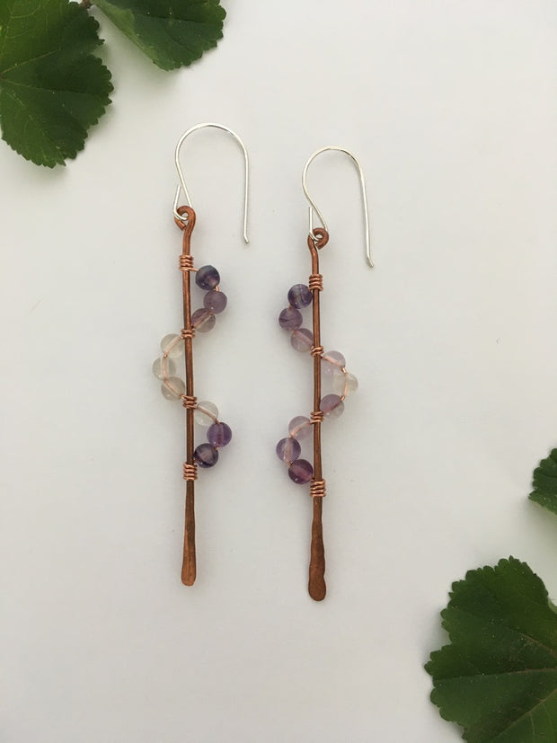 purple flourite recycled copper wire wrapped descending stones earrings made in usa simple wealth art