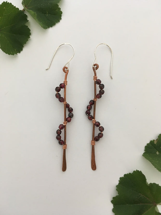Garnet recycled copper wire wrapped descending stones earrings made in usa simple wealth art
