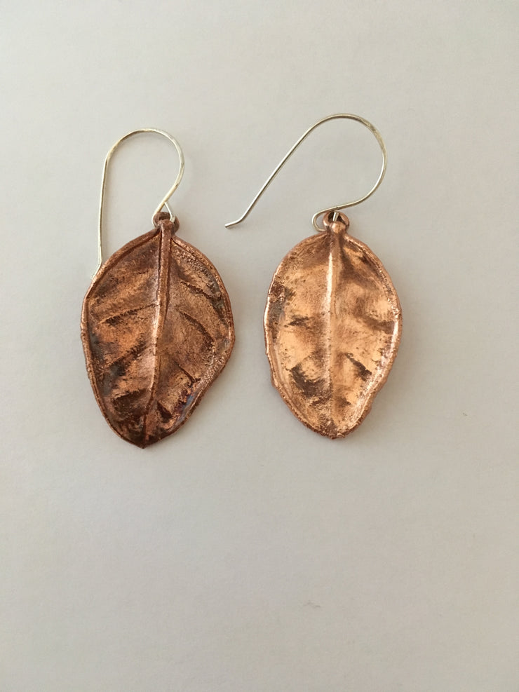 small electroformed guava leaf earrings recycled copper simple wealth art made in usa