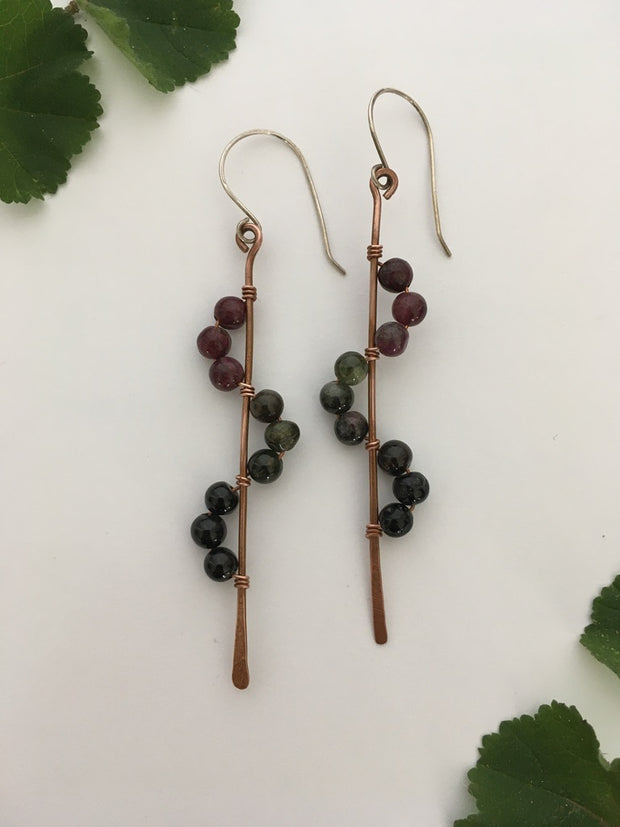 tourmaline recycled copper wire wrapped descending stones earrings made in usa simple wealth art