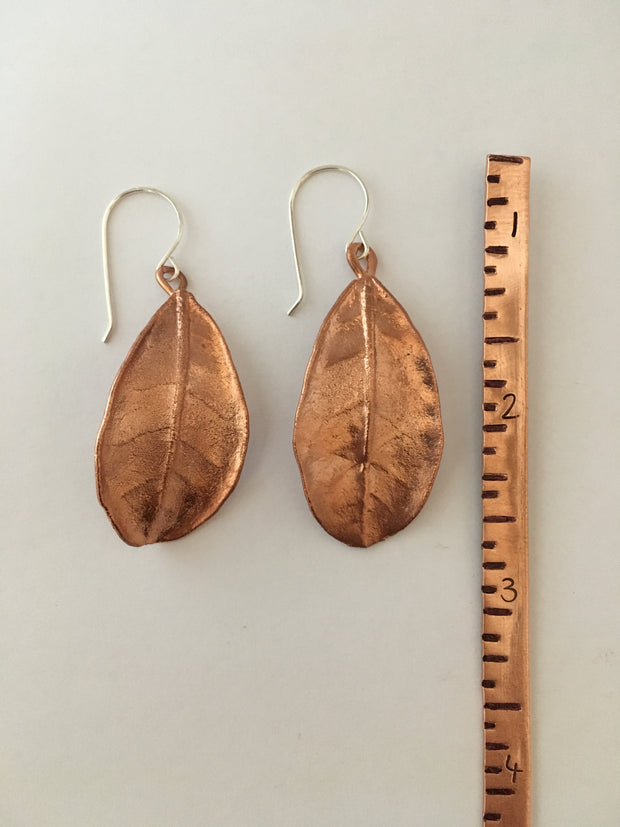 large electroformed guava leaf earrings recycled copper simple wealth art made in usa