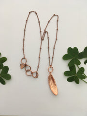 electroformed feather pendant recycled copper made in USA simple wealth art