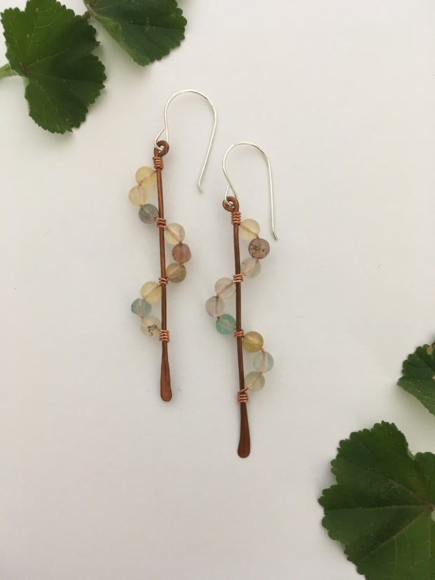 light multi colored flourite recycled copper wire wrapped descending stones earrings made in usa simple wealth art