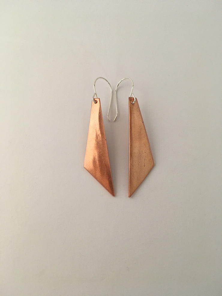 recycled copper pipe dagger earrings simple wealth art upcycled recycled metal jewelry made in usa