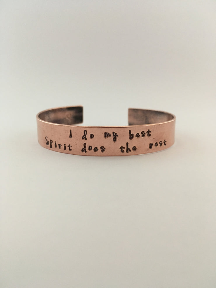 I do my best spirit does the rest recycled copper affirmation cuff mantra band simple wealth art