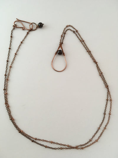garnet gemstone recycled copper drop necklace simple wealth
