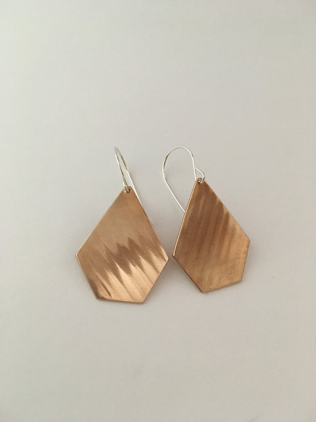 drum cymbal pentagon shaped brass earrings recycled metal simple wealth art