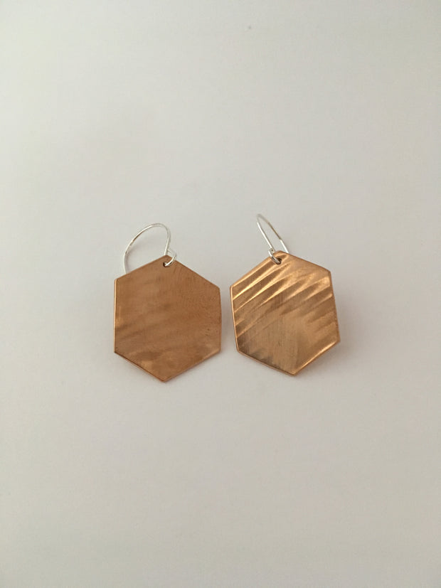 brass hexagon recycled pipe earrings upcycle simple wealth art