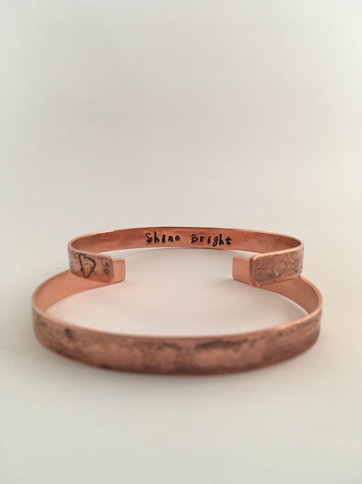 shine bright secret message recycled copper affirmation cuff unite to light charity fundraiser made in usa simple wealth art mantra band
