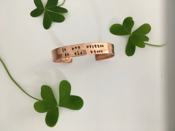 It was written in the stars recycled copper affirmation cuff mantra band simple wealth art