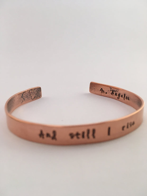 recycled copper mantra and still i rise maya angelou cuff simple wealth