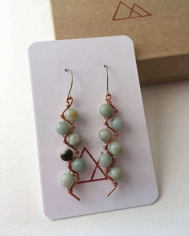 upcycle recycled copper amazonite gemstone zig zag earrings sterling silver simple wealth