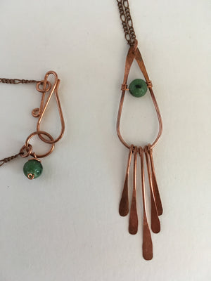 ruby zoisite gemstone recycled copper drop fringe necklace simple wealth