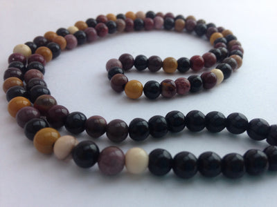 tourmaline and mookite stretch mala
