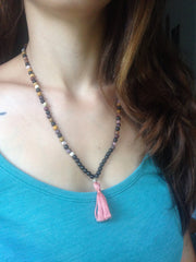 tourmaline and mookite stretch mini mala pink handmade tassel