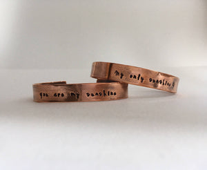 you are my sunshine recycled copper mantra cuff upcycled plumbing pipe affirmation bracelet simple wealth art