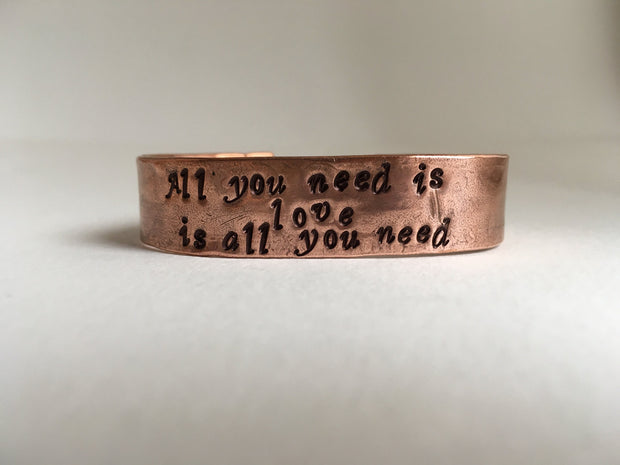 All you need is love affirmation Recycled Copper mantra Bracelet front view