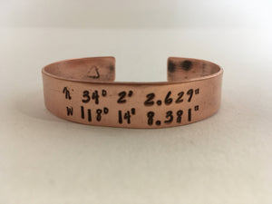 personalized coordinate cuff recycled copper pipe upcycled plumbing pipe  simple wealth