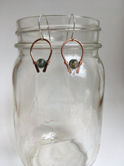 moss agate gemstone arch recycled copper earring simple wealth art made in usa wire wrap sterling silver