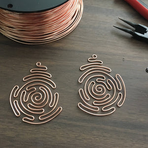 copper labyrinth earrings archemedes spiral