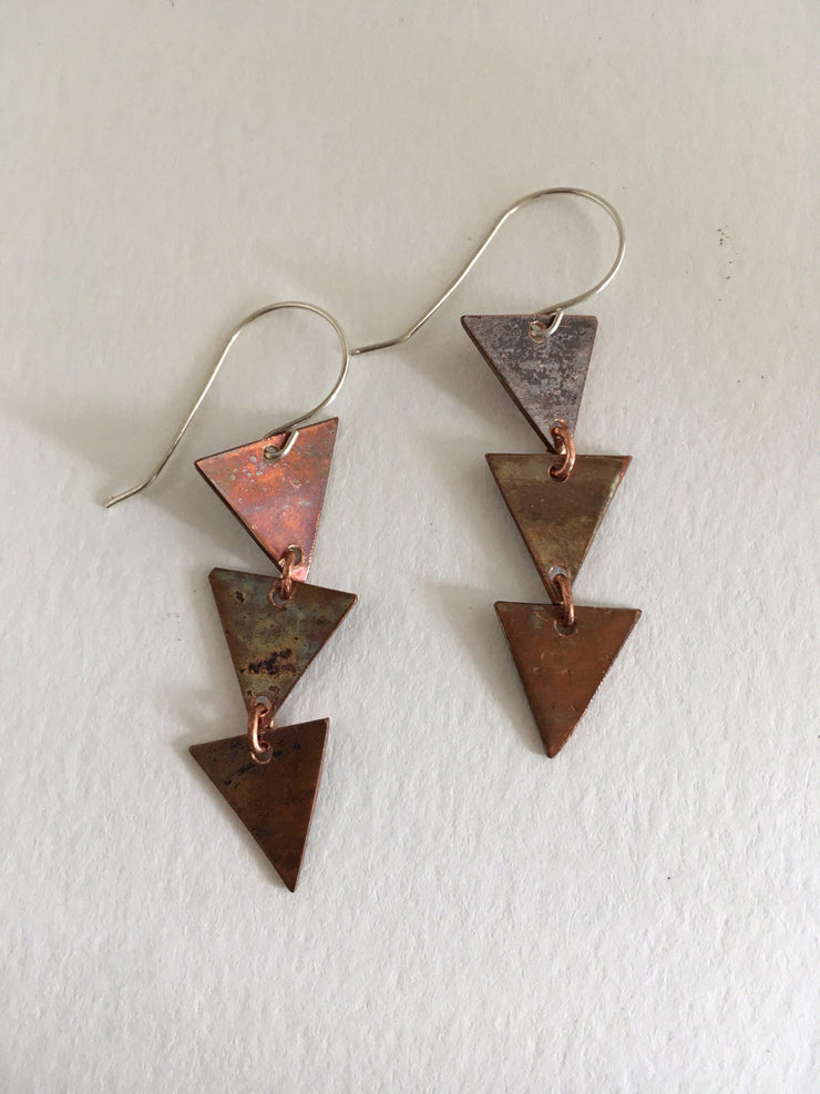 triple triangle recycled copper earrings upcycled plumbing pipe simple wealth