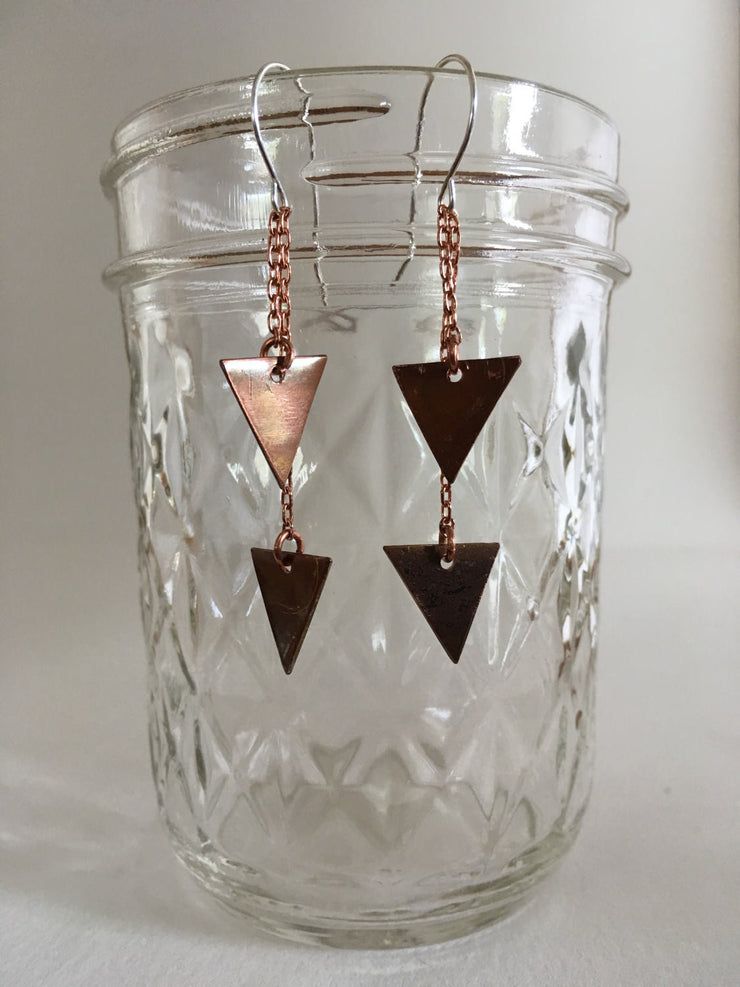 recycled copper chained down triangles sterling silver earwires simple wealth