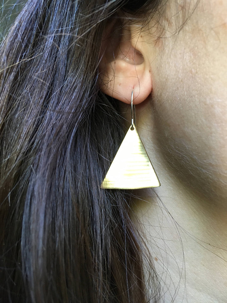 recycled drum cymbal triangle earrings brass upcycled crash cymbal simple wealth