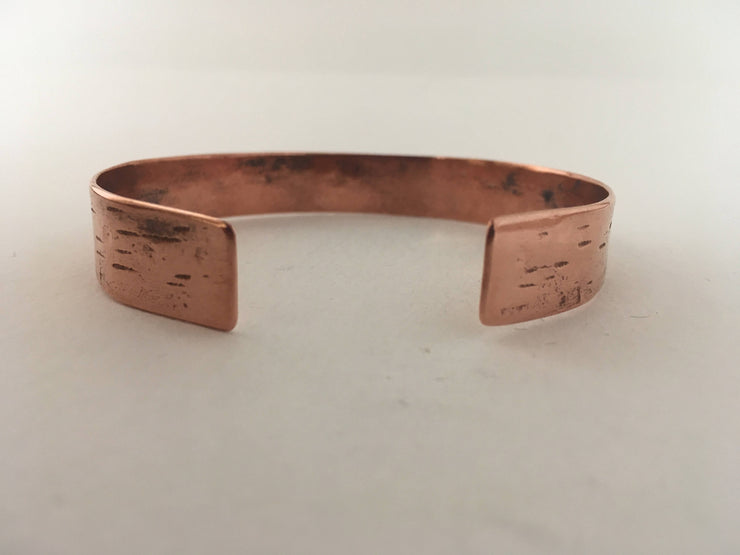 tree bark texture recycled copper bracelet upcycled cuff simple wealth art