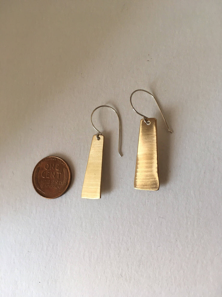 recycled drum cymbal rectangle earrings upcycled cymbal simple wealth art
