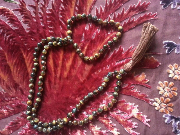 blue tiger eye hand knotted vegan mala handmade tassel simple wealth