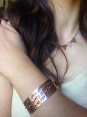 slow down. calm down. don't worry. don't hurry. trust the process recycled copper affirmation cuff upcycled bracelet