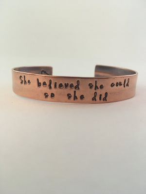 she believed she could so she did recycled copper hand stamped mantra cuff upcycled plumbing pipe affirmation bracelet