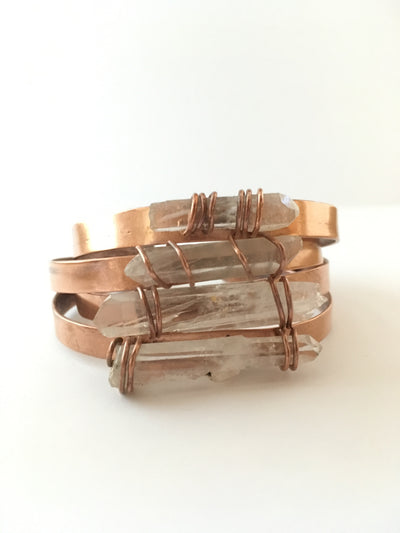recycled copper crystal cuff simple wealth art