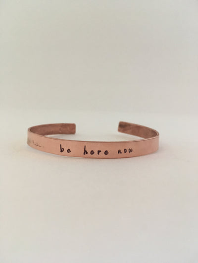 be here now hand stamped recycled copper mantra bracelet ram das