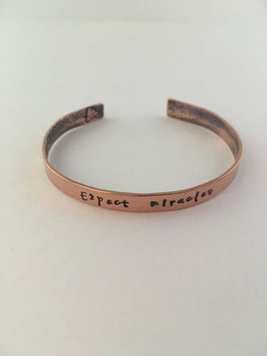 expect miracles hand stamped recycled copper mantra cuff upcycled pipe simple wealth gabby bernstein