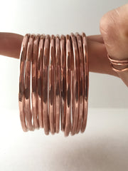 recycled copper bangle bracelet electrical wire handmade upcycled simple wealth art