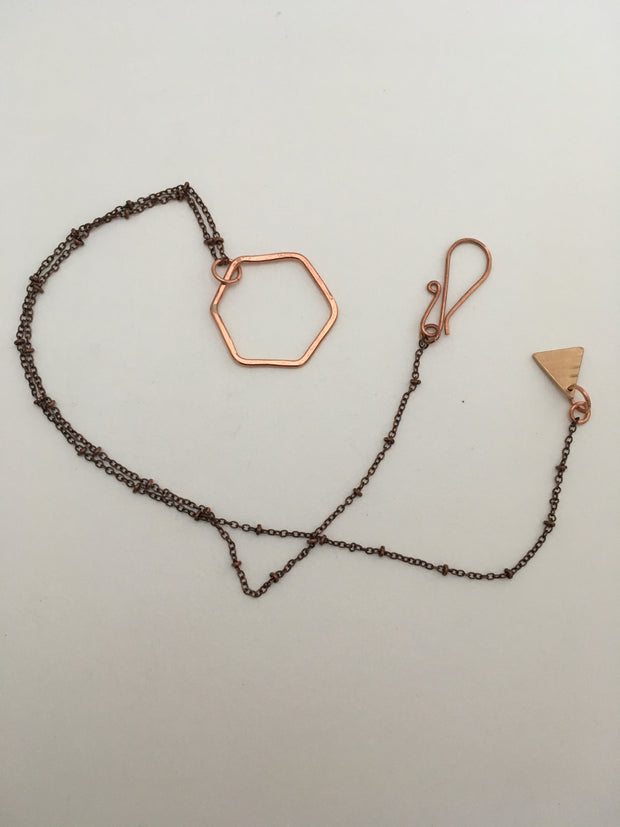 recycled copper hexagon necklace orbit chain simple wealth