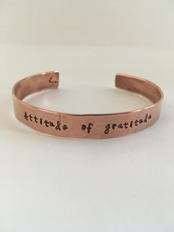 Attitude of grattitude recycled copper mantra bracelet