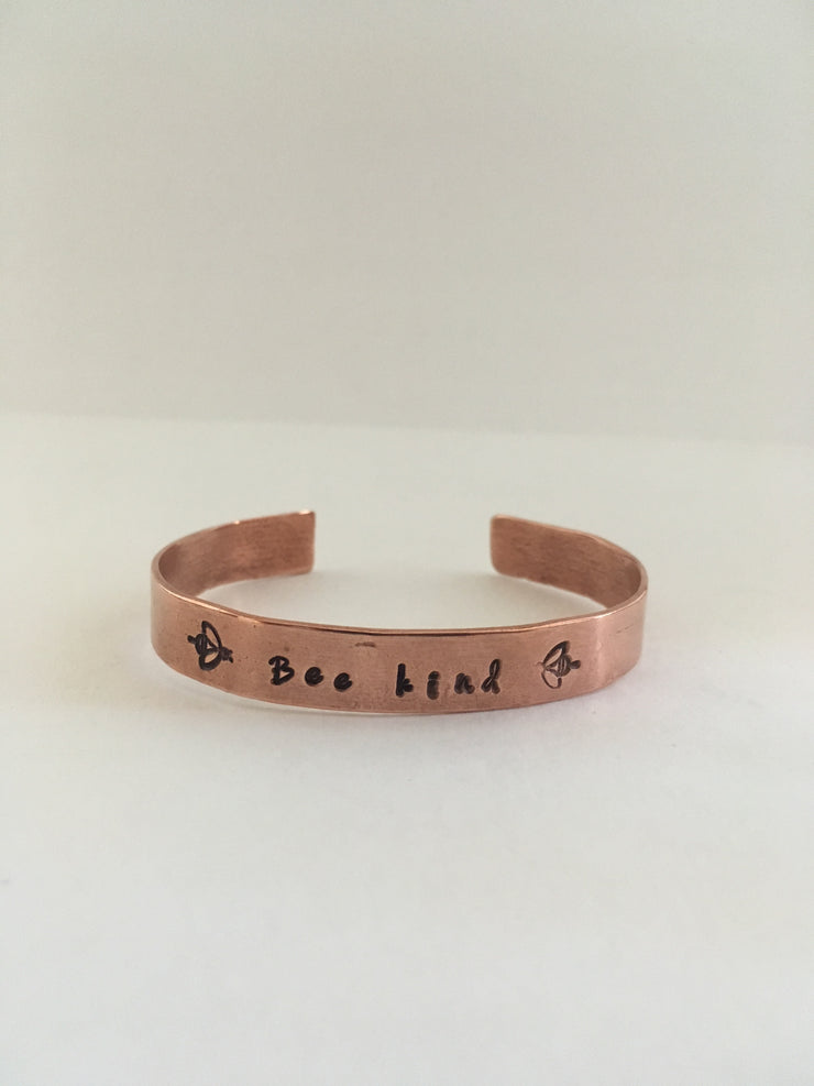 bee kind be kind hand stamped recycled copper affirmation cuff