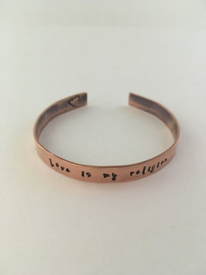 love is my religion recycled copper affirmation cuff plumbing pipe simple wealth