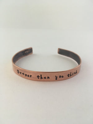braver than you think recycled copper hand stamped mantra cuff