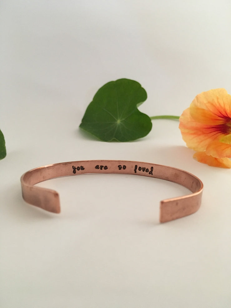you are so loved recycled copper mantra cuff secret message cuff simple wealth made in usa