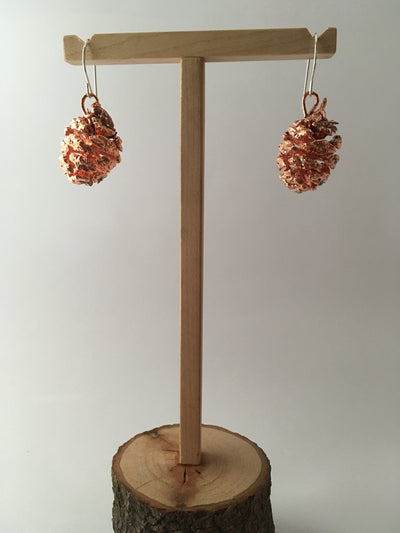 electroformed redwood cone earrings recycled copper simple wealth art made in usa