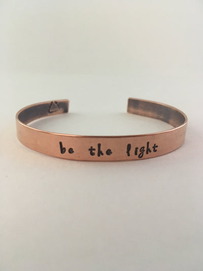 be the light hand stamped recycled copper affirmation bracelet