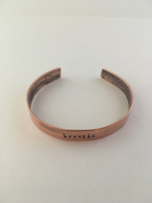 breathe recycled copper hand stamped mantra cuff