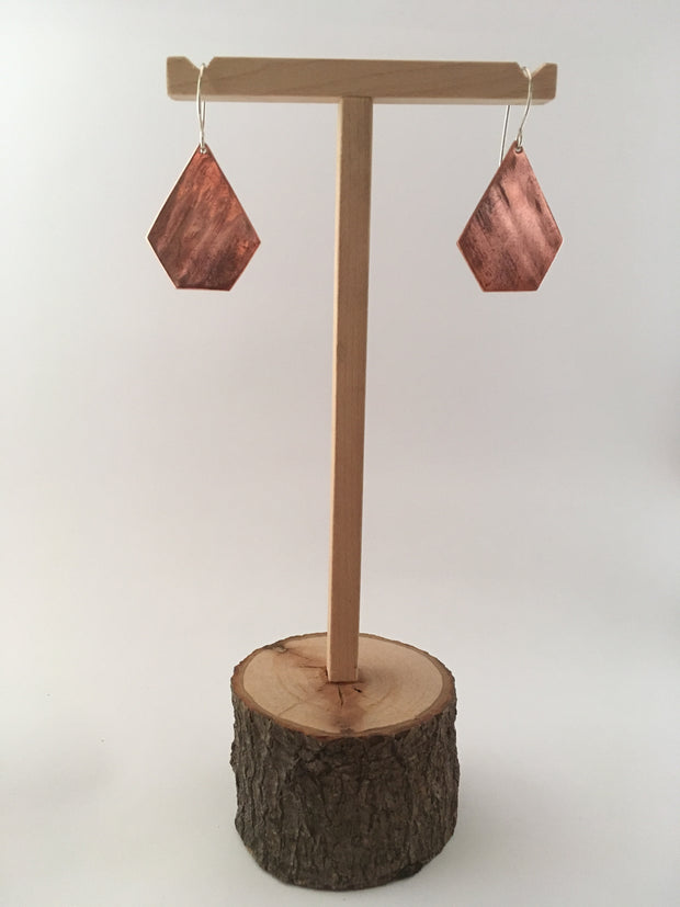 copper pentagon shaped brass earrings recycled metal simple wealth art