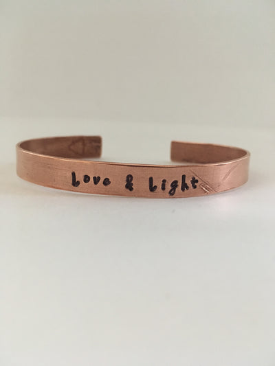 love and light recycled copper mantra bracelet upcycled plumbing pipe affirmation cuff