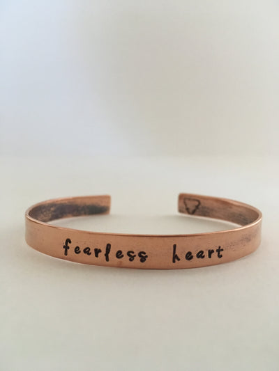 fearless heart affirmation cuff recycled copper manta band simple wealth art