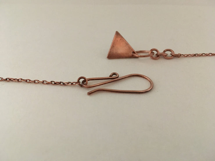 recycled copper triangle bunting necklace upcycled plumbing pipe simple wealth art