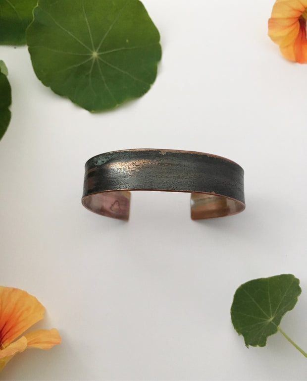 Recycled copper jewelry handmade natural mineral cuff simple wealth art made in usa